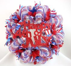 Red, White and Blue Happ Fourth July Deco Mesh Door Wreath, $69.00
