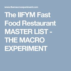 The IIFYM Fast Food