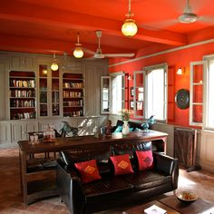 Red, grey and Mexican tile living room