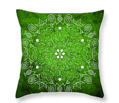 Green and White Throw PillowMandala Throw by PatLintnerFineArt