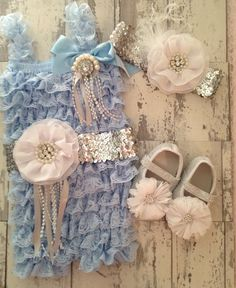 Baby Girl Cinderella Costume  3 Piece Set Lace Pettiromper, Sash, and Matching Headband