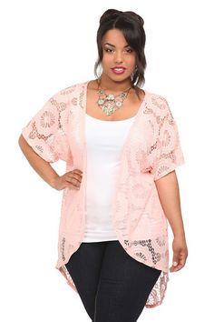 Pink Daisy Crochet Bed Jacket   Tops