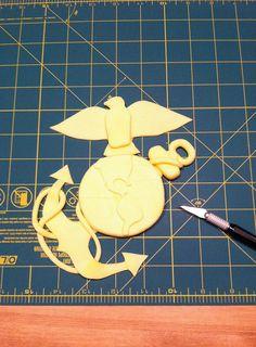 Fondant Marine Corps Emblem, by hand