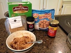 Lunch: rice noodles, Earth's Best mini meatballs, hoisin sauce, sesame &/or flax seed.