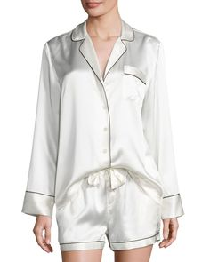 Silk Shortie Pajama Set, Ivory