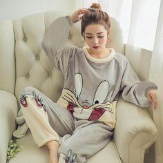 2018 Women Pajamas Set Winter Sleepwear Warm Cartoon Adult Long Sleeve  Sleepwear  pajamas  beanie cd25a5963