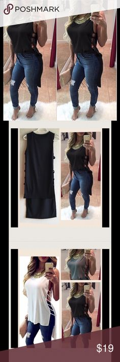 Black Sexy Cotton Top Elegant Sleeveless Top. It would match with shorts or jeans perfectly👍 have all 3 colors. Please see the size chart on the last photo😉they might run small. Dresses Midi