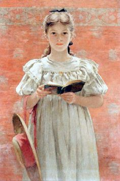 Girl Standing With Book-Walter MacEwen (1860 – 1943, American)