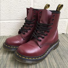 Cherry Red Doc Martens! Smooth Cherry Red, barely worn, Doc Martens! Doc Martens Shoes