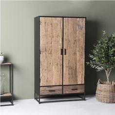 LivingFurn Opbergkast Dakota 175 x 100 cm - Log Cabin Furniture, Metal Furniture, Dining Room Furniture, Furniture Design, Japanese Interior Design, Asian Home Decor, Wood Steel, Lodge Decor, Closet Designs