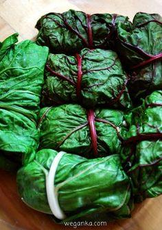 Gołąbki z kaszą pęczak i czerwoną soczewicą Vegan Recipes, Vegan Food, Sugar Free, Spinach, Food And Drink, Gluten, Vegetables, Cooking, Aga