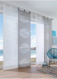 Sustainable long shirt, TENCEL ™ Lyocell - Watch now: Modern curtain made of semi-transparent fabric quality. The striking circles are made us - Sliding Curtains, Home Curtains, Modern Curtains, Panel Curtains, Modern Kitchen Curtains, Curtain Fabric, Patio Door Blinds, Patio Door Coverings, Patio Doors
