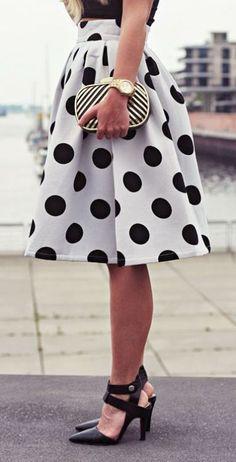 YSJ Women's Midi Skirt A-Line Pleated High Waist Polka Dot OL Skirts