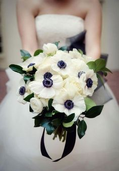 Featured Photographer: BB Shots Photography; Gorgeous white anemone wedding bouquet