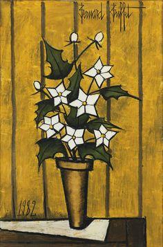 bernard buffet(1928-99), fleurs de houx dans un pot (holly flowers in a pot). oil on canvas, 81 x 54 cm. sotheby's