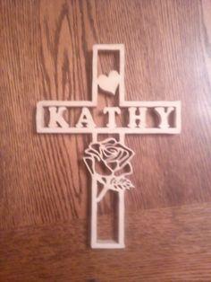 custom name and rose cross
