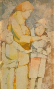 Juan Battle Planas | La Familia | Acuarela 1966