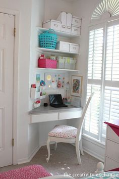 My husband wants a corner desk in our office like the one in this photo. To me it looks like a corner kitchen cabinet but I googled it and can not find anythin…