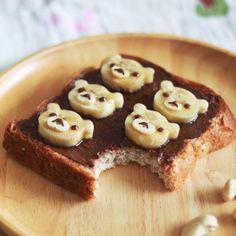 Homemade healthy Nutella with Rilakkuma  shaped banana toast!