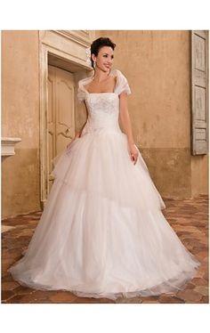 A-line Floor-length Tulle Wedding Dress With A Wrap