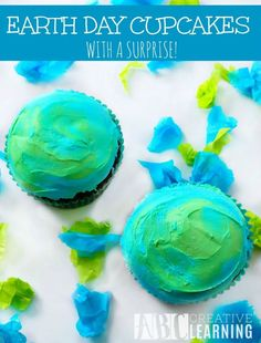 Earth Day Cupcakes With A Surprise - Your kiddos will love creating these Earth Day Cupcakes along with a core center! Perfect for Kids in the Kitchen activity, Science, ,and Math! - abccreativelearning.com