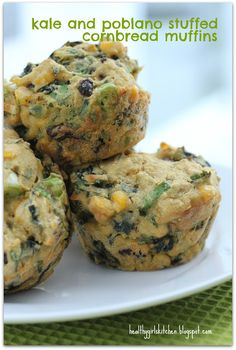 Kale and Poblano Stuffed Cornbread Muffins