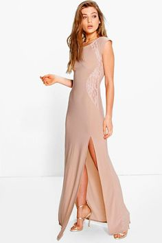 Veronica Lace Insert Maxi Dress by Boohoo. Get dance floor-ready in an  entrance f580fe7728