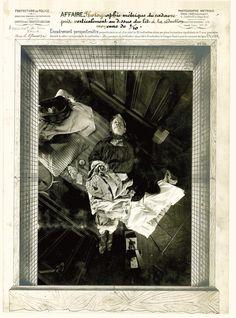 Hier ist die perspektometrische Einrahmung von Monsieur Falla zu sehen, der am 27. August 1905 im Schlaf ermordet wurde. Aufgrund der Leichenstarre hängen seine Beine in der Luft und der Gürtel um seinen Hals lässt auf eine Strangulation schließen.