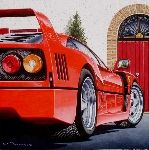 Kunstwerk 'Ferrari in von - Werner Pitzer Ferrari F40, Cars, Vehicles, Motorbikes, Art, Painting Art, Autos, Automobile, Vehicle