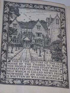 Finely engraved frontispiece to William Morris's 'News from nowhere' (the Kelmscott Press edition), a work which combined his socialist utopian ideals with science fiction. William Morris, News from. Dante Gabriel Rossetti, Medieval, Magazine Deco, William Morris Art, John Everett Millais, Art And Craft Design, Pre Raphaelite, Design Graphique, Arts And Crafts Movement