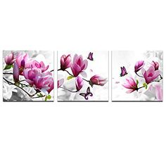 Cao Gen Decor Art-AH40233,canvas Prints, 3 panels Framed Wall Art Dolphins, Pink flower Paintings Printed Pictures Stretched for Home Decoration