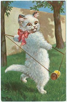 Vintage Victorian White Cat Postcard