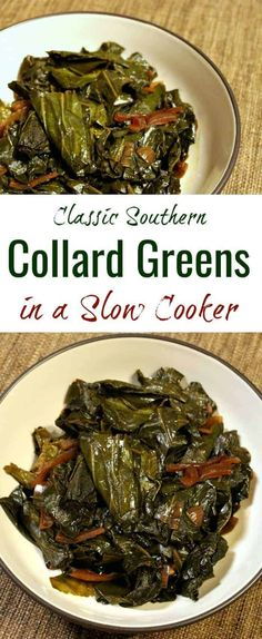This classic slow cooker vegan collard greens recipe makes perfectly smoky, delicious Southern-style collard greens that will please even omnivores. An ideal side dish for Thanksgiving or New Year's, or for a casual Sunday dinner. Collard Greens Recipe Slow Cooker, Best Collard Greens Recipe, Southern Collard Greens, Green Vegetarian, Vegetarian Recipes, Healthy Recipes, Turnip Greens Recipe Vegan, Vegan Soul Food Recipes, Vegetarian Food