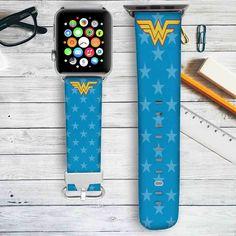 Wonder Woman Pattern Custom Apple Watch Band Leather Strap Wrist Band Replacement 38mm 42mm