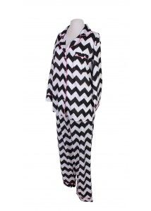 Fun Chevron Pajamas in Black in White! 100% Pima Cotton! So cute and soft and perfect for monogramming! Visit us at www.mayzies.com to purchase one of your very own!