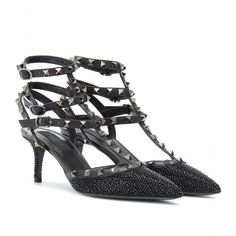 mytheresa.com - Valentino - ROCKSTUD NOIR EMBELLISHED KITTEN HEEL PUMPS - Luxury Fashion for Women / Designer clothing, shoes, bags