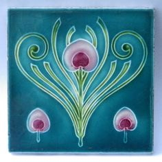 Antique Art Nouveau Tile by T and R Boote c1905