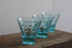 Vintage Hazelware - Atlas Skol shot glasses Capri, blue shot glasses, mid century modern barware