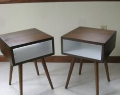 Mid Century Inspired Night Stands. Set of Two.  Painted Interior Solid Wood Side Table, Plant Stand, Small Space Modern Table