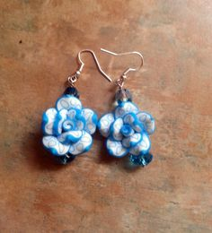 Lovely Blue and White Polymer Clay Rose Flower Earrings by WolfMountainJewelry on Etsy   12.00