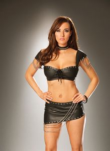 EML6822, Leather mini skirt with nail heads and chain detail. Back zipper closure.