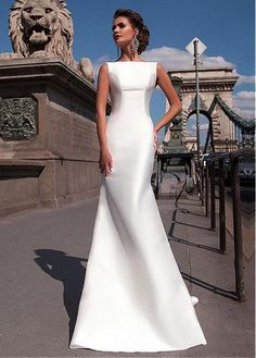 835df33c22 Satin Mermaid Wedding Dresses 2018 Bateau Boat Neck Sleeveless Fitted Long  Sheath With Detachable Train Bow V Back Plus Size Bride Gowns