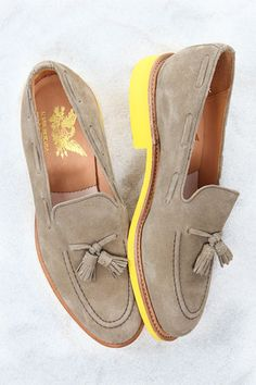 Seasonal trend: adding surprising pops of color to footwear with painted wooden soles or bright laces (shown: Mark McNairy suede tasseled loafer)