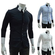 Cheap man spring, Buy Quality long-sleeved shirt directly from China spring shirt men Suppliers: Men's Spring Authentic Cultivating Long-sleeved Shirt Korean version of Casual Stitching tide Shirt White/Navy Popular Mens Fashion, Latest Mens Fashion, Men's Fashion, Long Sleeve Fitted Dress, Long Sleeve Shirts, Casual Shirts For Men, Men Casual, Man Dressing Style, Mens Flannel Shirt