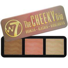 W7 Cosmetics Bronzer Blush Highlighter Palette Form Contour Kit The Cheeky Trio