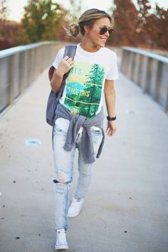 "I freakin love this outfit!! ""Let's take this outside"" t-shirt nordstrom, distressed forever 21 jeans and white converse. So casual, cute and comfy. For spring or fall."
