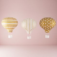 Hot Air Balloon Paper Lantern Set in Gold and White. So CUTE. I wonder how I could use these??