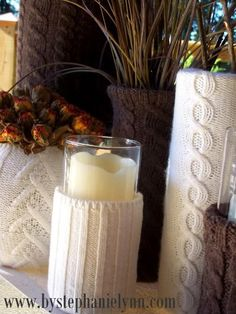 [use sweater sleeves to make custom holiday candle holders]