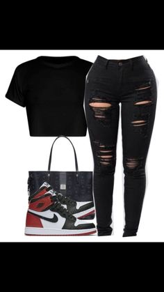 A fashion look from August 2017 featuring crop tee, high waisted ripped jeans and mcm tote bag. Browse and shop related looks. Baddie Outfits Casual, Casual School Outfits, Swag Outfits For Girls, Teenage Girl Outfits, Cute Swag Outfits, Cute Comfy Outfits, Girls Fashion Clothes, Teen Fashion Outfits, Teenager Outfits