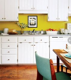 Yellow grey and white kitchens! So very many of these, and all so pretty.